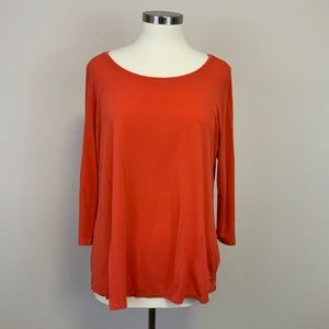 Eileen Fisher Coral 3/4 Sleeve Silk Shirt Sz XL